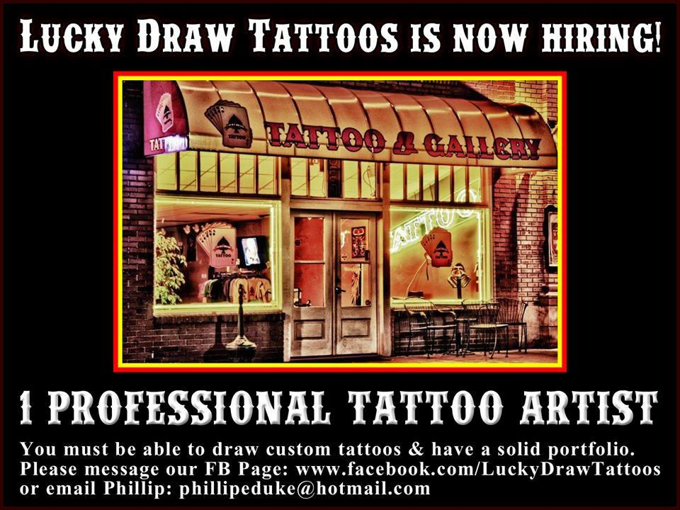Now hiring lucky draw tattoos for Marietta square tattoo